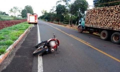 Motociclista fica em estado grave após acidente com caminhão na MS-162