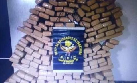 Policiais do DOF apreendem carro carregado com 185 kg de maconha